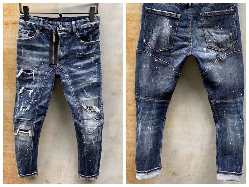mens designer jeans denim jean black ripped pants pour hommes men s Italy fashion brand biker motorcycle rock revival jeans high quality C6
