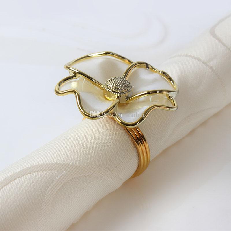 Moda tovagliolo anello fiori bianchi portatovagliolo hotel bella tovagliolo tovagliolo decorazioni da tavolo di nozze DHL libero WX9-1178