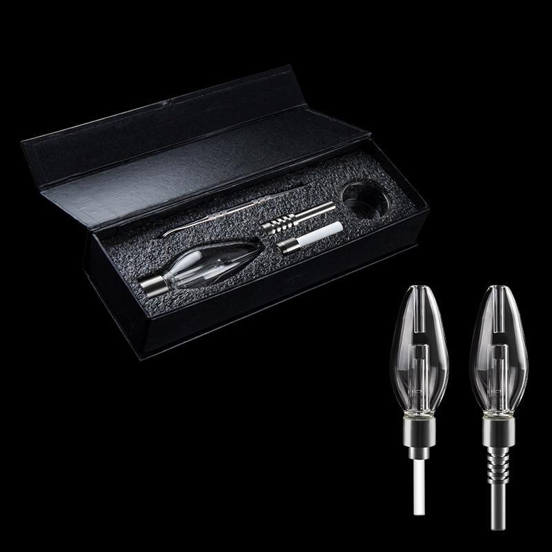 510 Mini Glass Bubber Glass Water Pipe Gift Box With 510 Thread Titanium Quartz Ceramic Nails Dab Rig Glass Bong for smoking