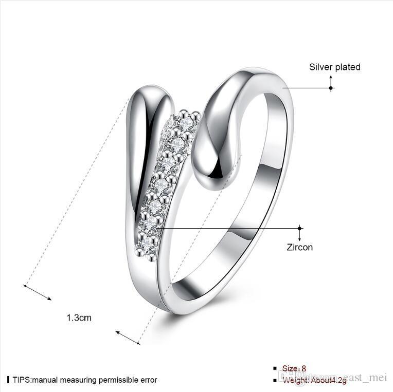 Heißer Verkauf Zwei Linien Sterlingsilber Fingerring fit Frauen überzogen, Hochzeit weißen Edelstein 925 silberne Platte Ring Solitaire Ring ER320