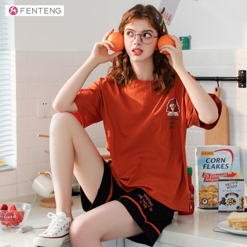 Fenteng Lettre d'été Imprimer 2Pcs Pyjama Set Femmes Casual Cotton Homewear Femme comfortble nuit X88120368