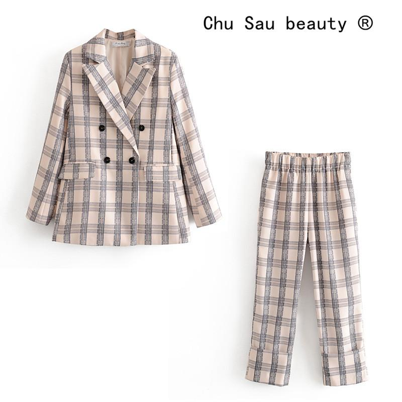 toptan Moda Ekose Kadınlar Blazer Suit Ofis Bayanlar İki parçalı Blazer Uzun Kollu çift Breasted Blazer Pants Setleri