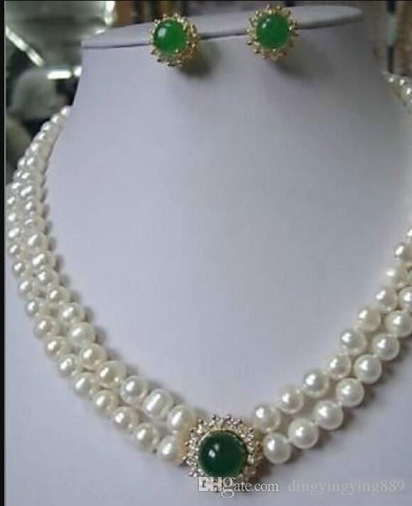 jewelry Jewelry White Pearl necklace green Jade earring