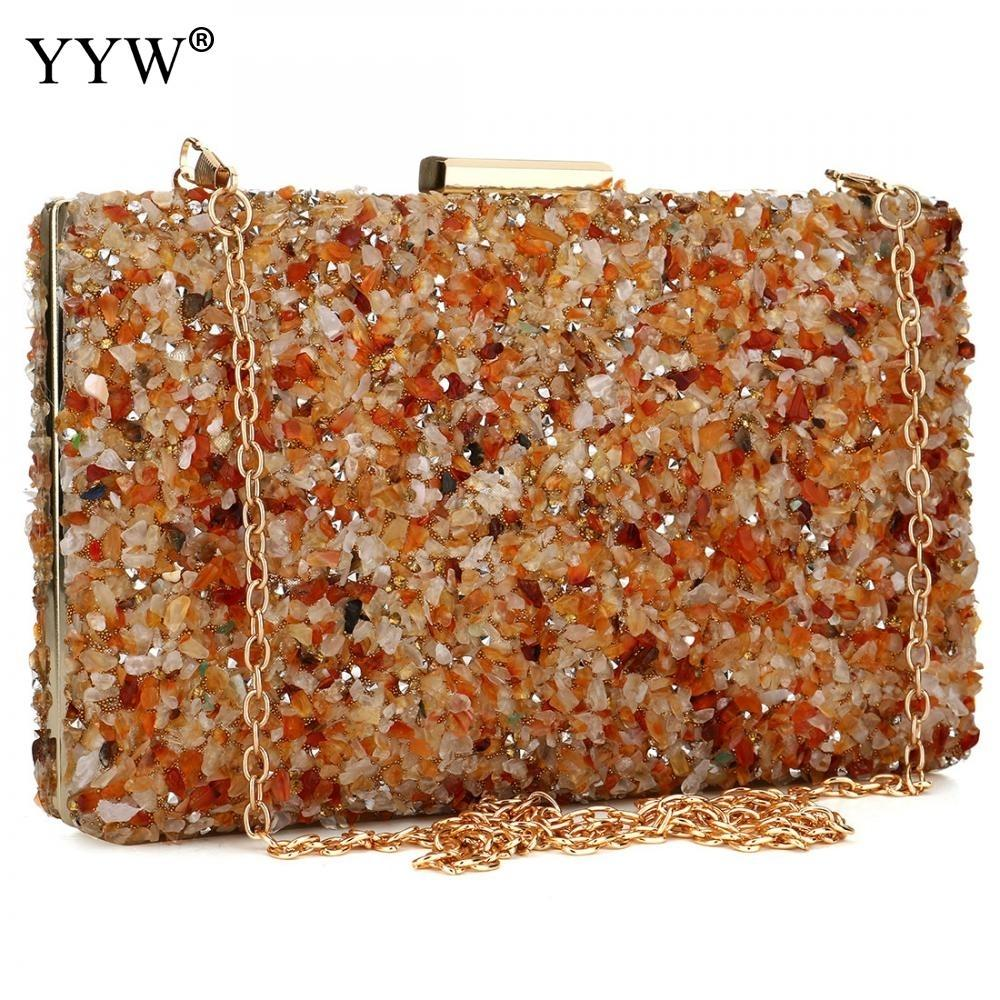 La piedra anaranjada tarde de las mujeres garras del monedero de la señora del diamante del bolso del banquete de boda elegante del día del partido Mujer bolsos de embrague 2019 CJ191209