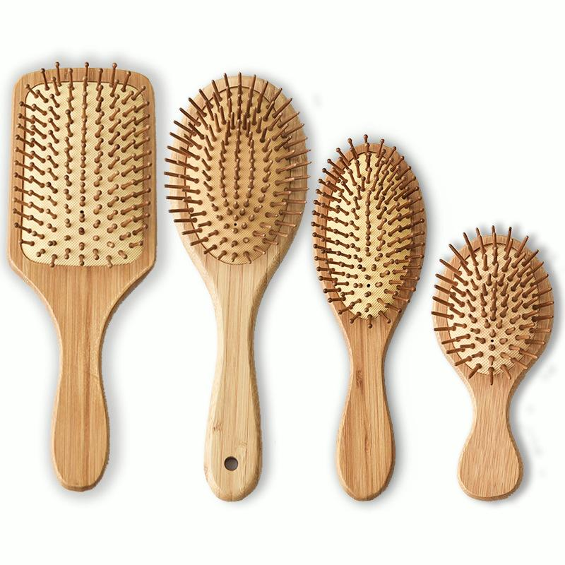 Bamboo hair brush wooden comb air cushion anti-static carbonized tooth massage comb anti hair loss health care natural style