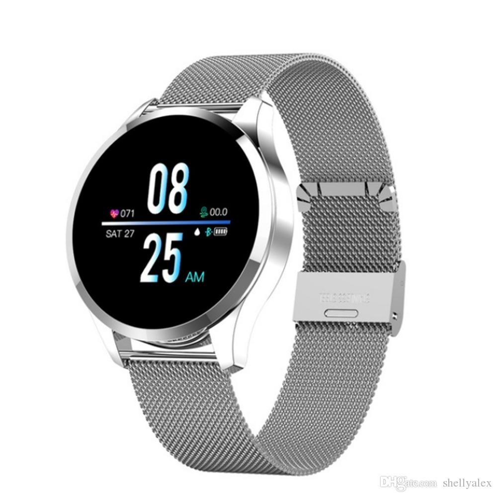 Bluetooth Q9 intelligente classico orologio in acciaio inox Cinturino design SmartWatch Calorie fisiologico ciclo di promemoria Tracker Fitness per Samsung