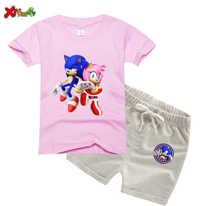 çocuklar giysi Seti kızlar 2020 Yaz sonik Tişört + Kısa Pantolon Erkekler Kızlar Pamuk Giyim karikatür Giyim 2 ADET ayarlar kirpi