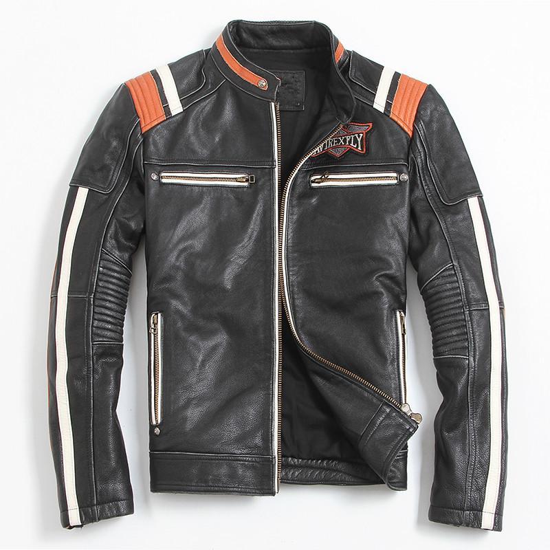 FREE SHIPPING Vintage Black Men Leather Motorcyclist Jacket Skull Embroidery Plus Size 3XL Genuine Cowhide Short Biker Coat