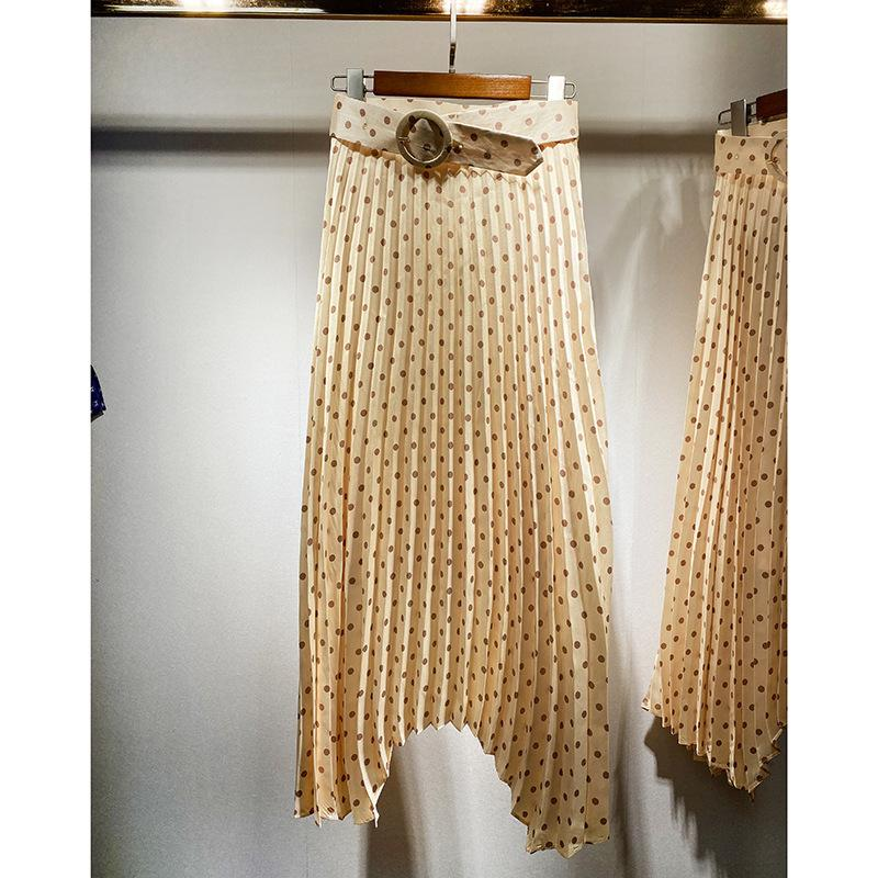 2020 весна лето Женщины Bright Dot печати плиссированные A-Line юбка