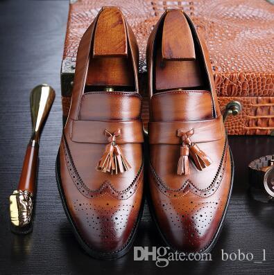 2019 Homens Sapatos Formal de Negócios Brogue Sapatos Masculinos de Luxo Sapatos de Vestido Masculinos de Couro Genuíno Casuais Mocassins Da Festa de Casamento EU39-44