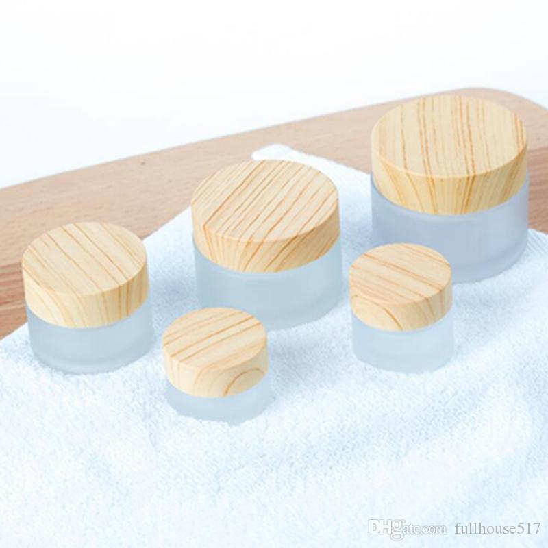 Buzlu Cam Kavanoz Krem Şişeleri Yuvarlak Kozmetik Kavanoz El Yüz Ambalaj Şişeleri 5G 10g 15g 30g 50g Ahşap Kapak ile Kavanoz