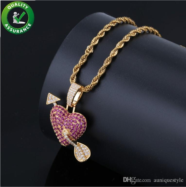 Iced Out Pendant Hip Hop Jewelry Necklace Designer Micropave Bling Diamond CZ Bling Mens Gold Chain Arrow Heart Cupid Pendants Women Couple
