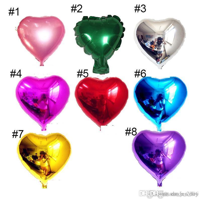 8 Arten 5-Zoll-Herzform Aluminiumfolienballon Hochzeit Dekoration Party Supplies Heliumballon freies Verschiffen
