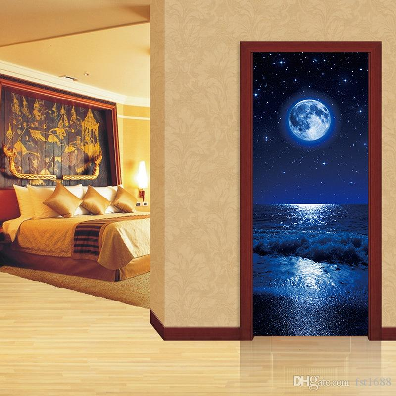 2pcs/set Moon view Landscape Poster Door Sticker Painting Wallpaper Wall Sticker Party Bedroom Living Room Home Decor Art Decal Gifts