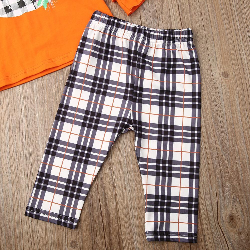 Roupa Halloween Kids Baby Girl Define 2pcs abóbora Ruffles alargamento da luva + Elastic Mantas Calças 2pcs Criança da menina Outfits 1-5Y