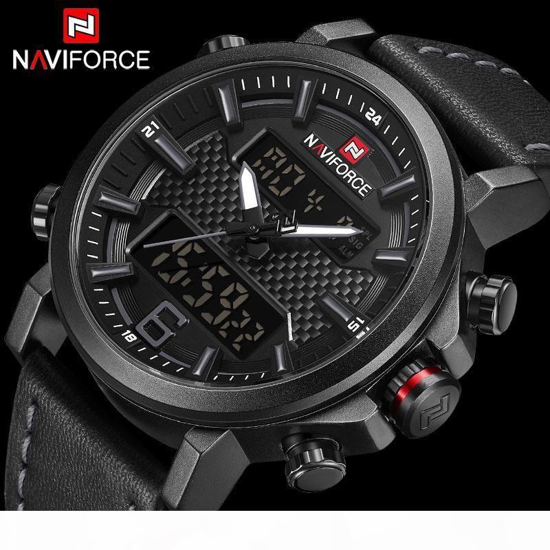 NAVIFORCE Homens Sports Relógios cinta de couro à prova d'água Digital Analógico Relógio de pulso dos homens Dual Display Quartz Relógio Relógio Masculino