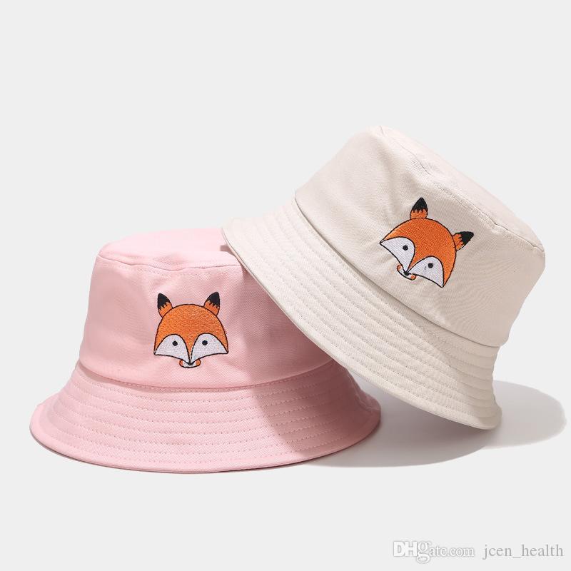 2020 여름 여성 여우 놓은 낚시 캡 단색 캐주얼 버킷 모자면 어부의 모자 힙합 캐주얼 모자 chapeau을 feminino