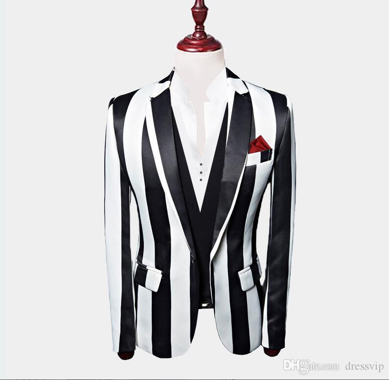 2020 أبيض وأسود مقلم السترة 3 قطع بذلات رجالي مخصص الزفاف البدلات الرسمية سترات سروال سترة