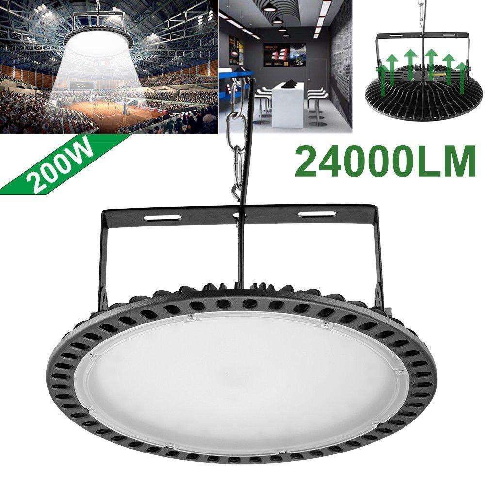 200W Slim UFO LED High Bay Light 24000 Lumen 6000-6500K lamp Factory Warehouse Industrial Lighting Waterproof Dust Proof Warehouse LED Light