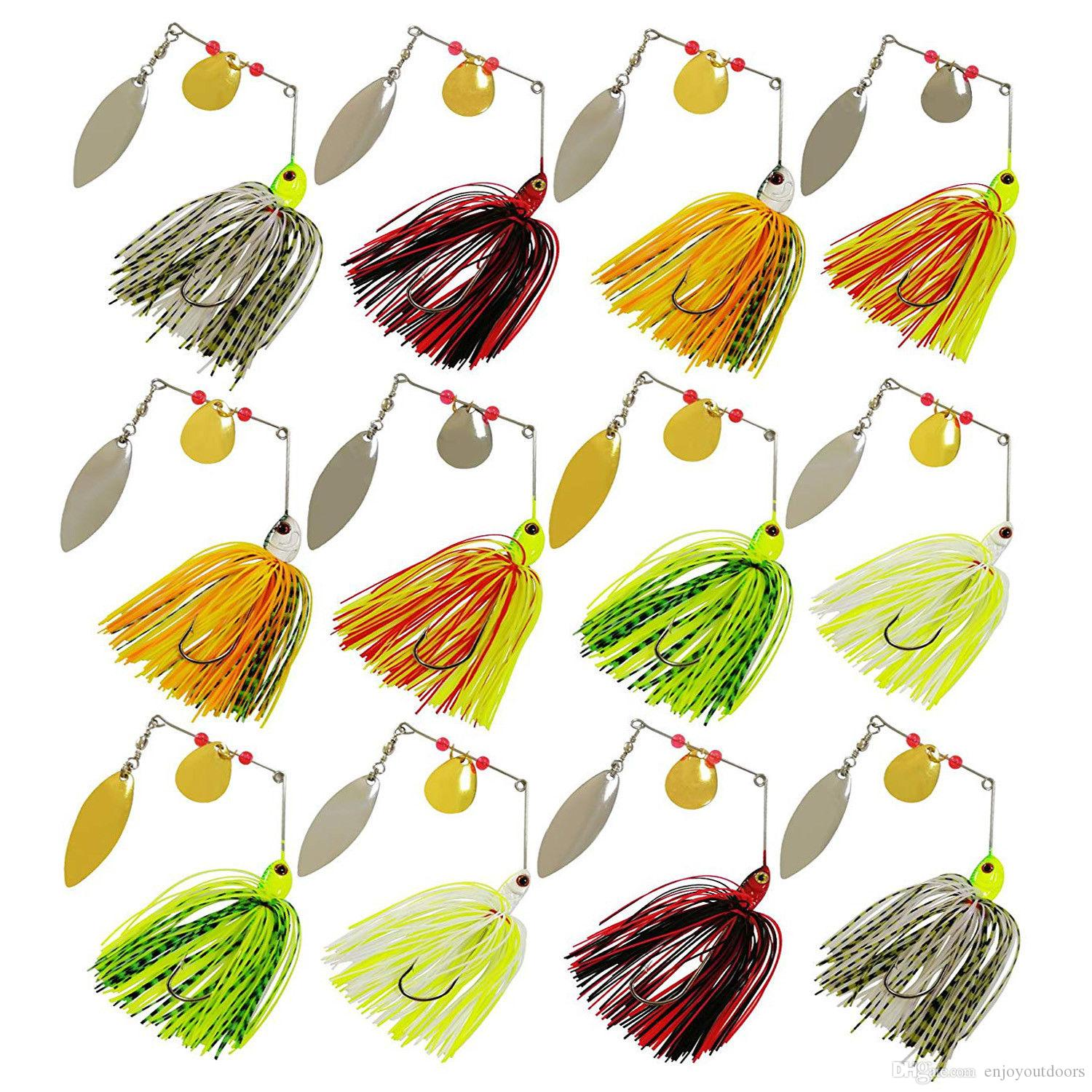 Lifelike Spinnerbaits Lures 12pcs Jigs Head Rubber Fishing Lure Pike Bass Fishing Spinner Spoons Swimbaits Tackle