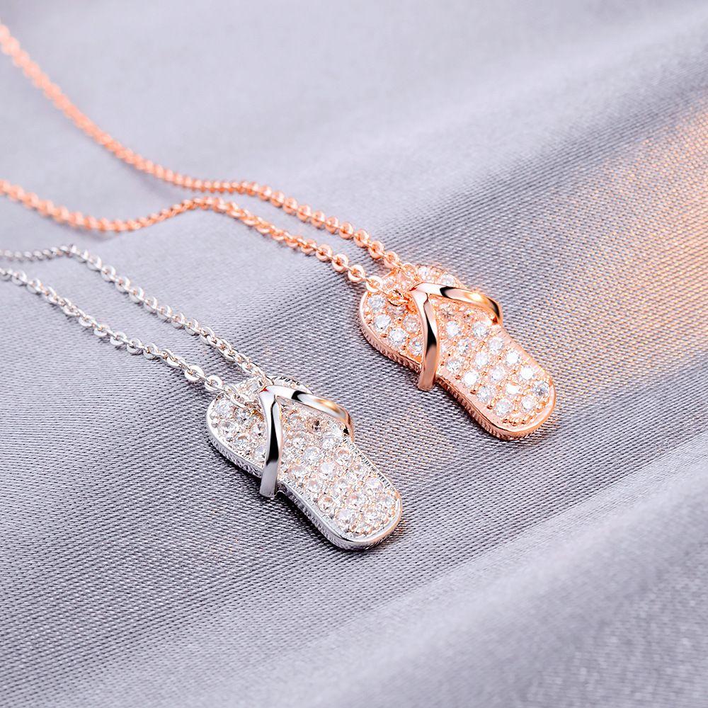 Mori-Art-Mädchen-Kreativ-Full-Diamant-kleine Hausschuhe Halskette Japanischen Und Koreanischen-Style New Net Rot mit Claviclekette Fabrik Großhandel