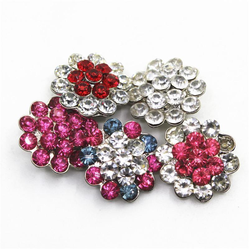10pcs prix pas cher Mix fleur de cristal Boutons Encliquetable 18mm Bracelet accrochage Bangles bricolage sport Pendentif bijoux Charms