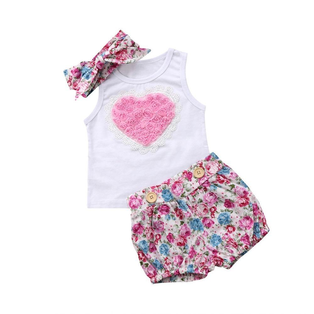 Infant Baby Clothing Sets Big Love Sleeveless White Tops Floral Print Shorts Headband 3pcs Bebe Girls Clothes Suits Q190521
