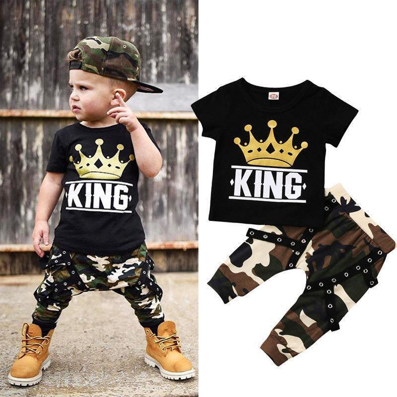 Summer 2PCS Newborn Kids Baby Boy Tops T-shirt & Camo Pants Outfits Clothes 0-5Y
