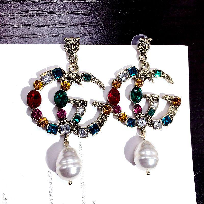 Kadın moda Marka Takı Tasarımcısı Küpe Orijinal Pandora Için Altın ve gümüş inciler Kristal Bayan Saplama Küpe Çeşitli sty