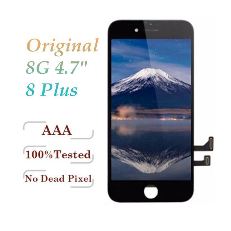 100% Orijinal LCD Sınıf A + + + Kalite Için iPhone 8 8 Artı Çerçeve Ile Tam Ekran Dokunmatik Ekran Digitizer Komple Ekran