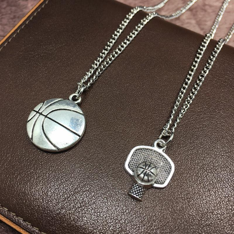 All-star Basketball Necklace Ball Frame Basketball Player Collar Vintage Silver Necklaces Pendant Best Friends Jewelry Party Prize Gifts