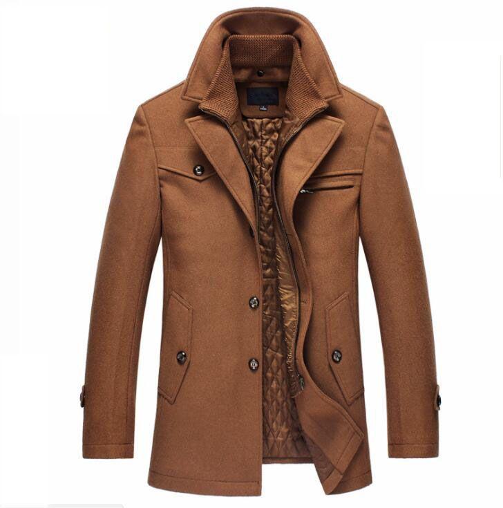Chaqueta de guisante para hombre Dropshipping TANG Nuevo abrigo de lana de invierno Chaquetas de corte ajustado Para hombre Chaqueta de abrigo y ropa de abrigo informal y tamaño M-4XL
