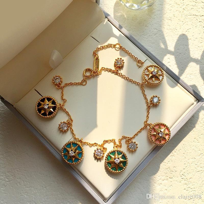 kadın için Moda Trend Takı Moda Lucky Sekiz Mandala Yıldız Plakalı Beş Çiçek Elmas Braceletbangle