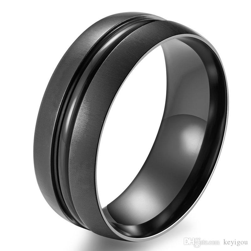 mode blau schwarz ring reinem titan partei schmuck für männer frauen matt 8mm größe 7 bis 12