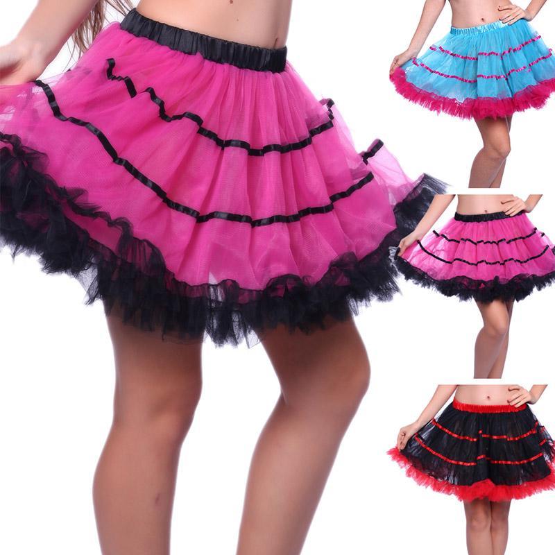 Le donne Contrasto Ruffle pannello esterno di Tulle sexy della fase del randello Dance Show Mini tutu gonna a righe Mesh Plisse pieghe Petticoat School Girl regina del partito