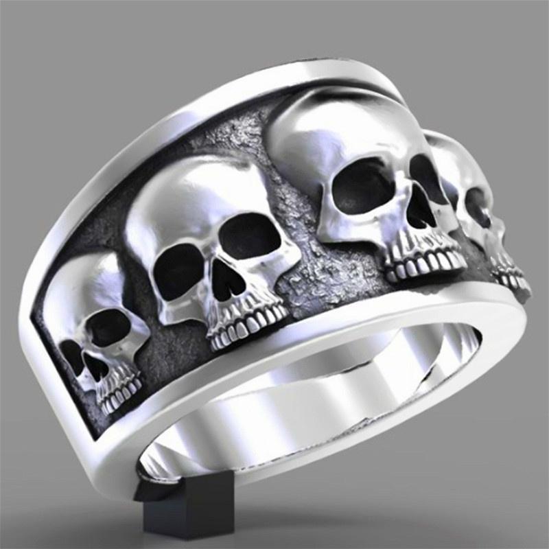 Tamaño gótico punky del anillo 316L de acero inoxidable de la vendimia del anillo del cráneo del motorista Moda Unisex joyería de plata de EE.UU. 7-14