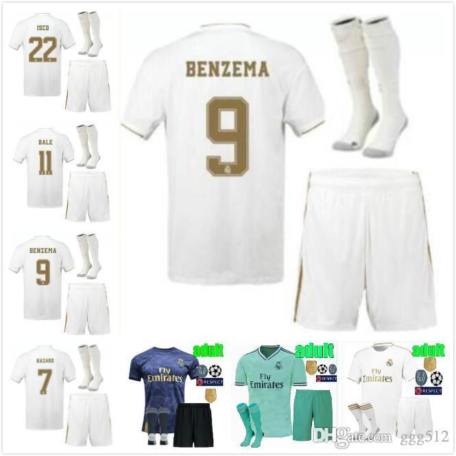 2019//2020 Football Kits RONALDO HAZARD Soccer Jersey Strip Suits For Kids Adults