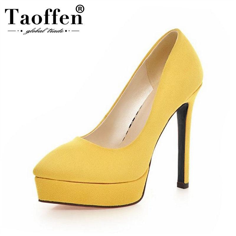 ZALAVOR Toe Plate-forme Pointu Femmes Pompes Slip Solide Couleur sur les talons minces Chaussures Fashion Party Ventage Chaussures Taille 32-43