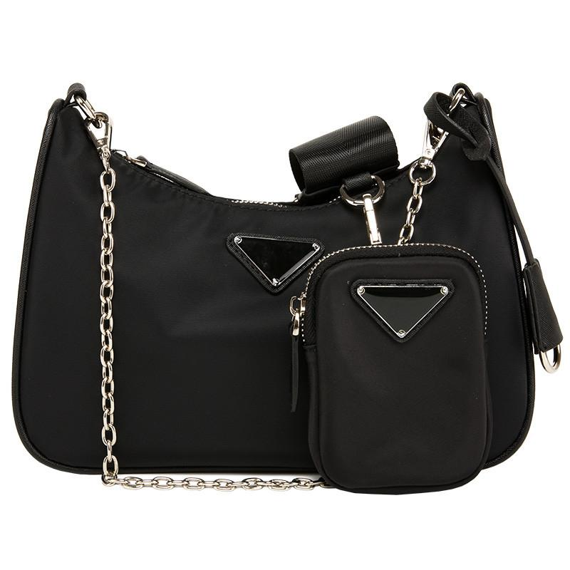 Three In One Nylon Bag New 2020 Wide Shoulder Strap Chain Shoulder Bag Messenger Bags High Quality Women Purse and Handbags