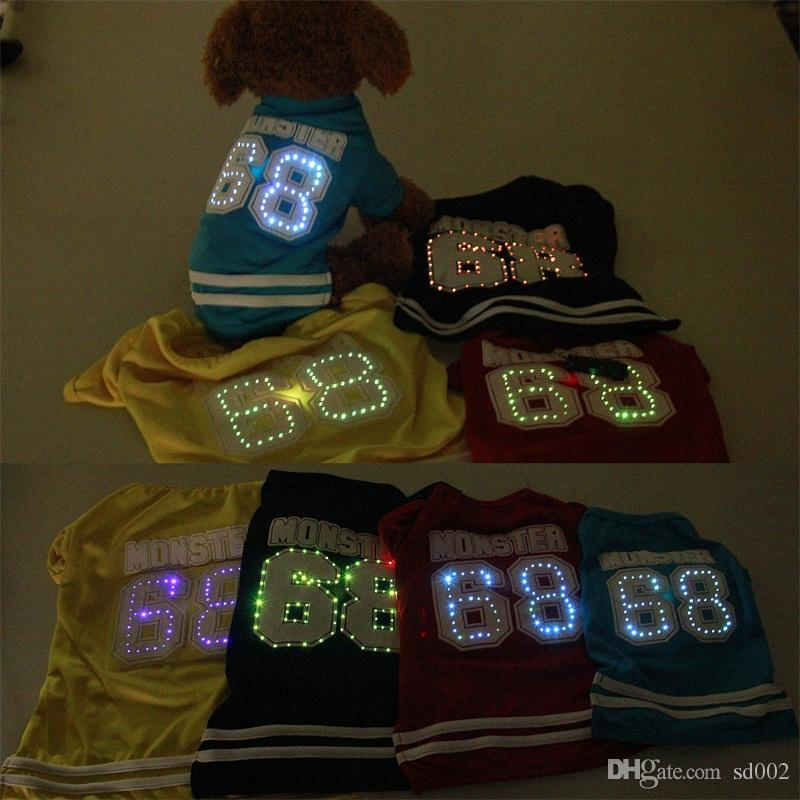Pet Dog Clothes 68 Number LED Light Trend Dog Sweatshirt Spring And Autumn Outdoor Sports Short Fashion 17sb UU