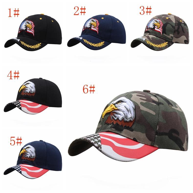 Qualitäts-USA-Flagge Baseball Cap Männer Frauen Adler Stickerei Hysteresen-Hut im Freien beiläufigen Sport-Ball-Kappe Tarnung Sonnenblende Hut DBC VT0975
