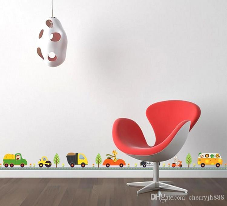 new fashion lovely and cute Cartoon animal plant car creative wall stickers decorate children's bedroom Corner