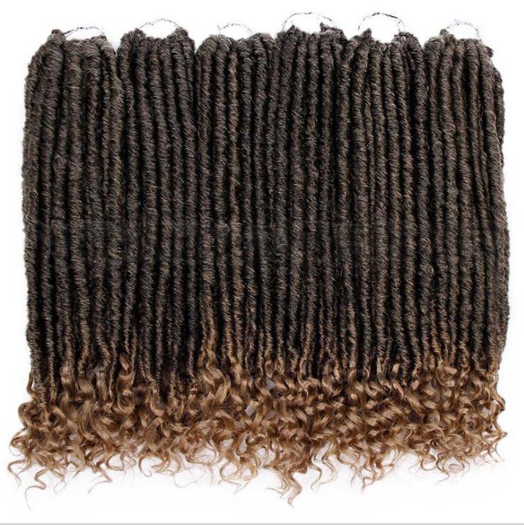Sahte LOCS Tığ Örgü 18 İnç Yumuşak Doğal Kanekalon Sentetik Saç Uzatma Tanrıça Kilitler İçin Moda Kadın