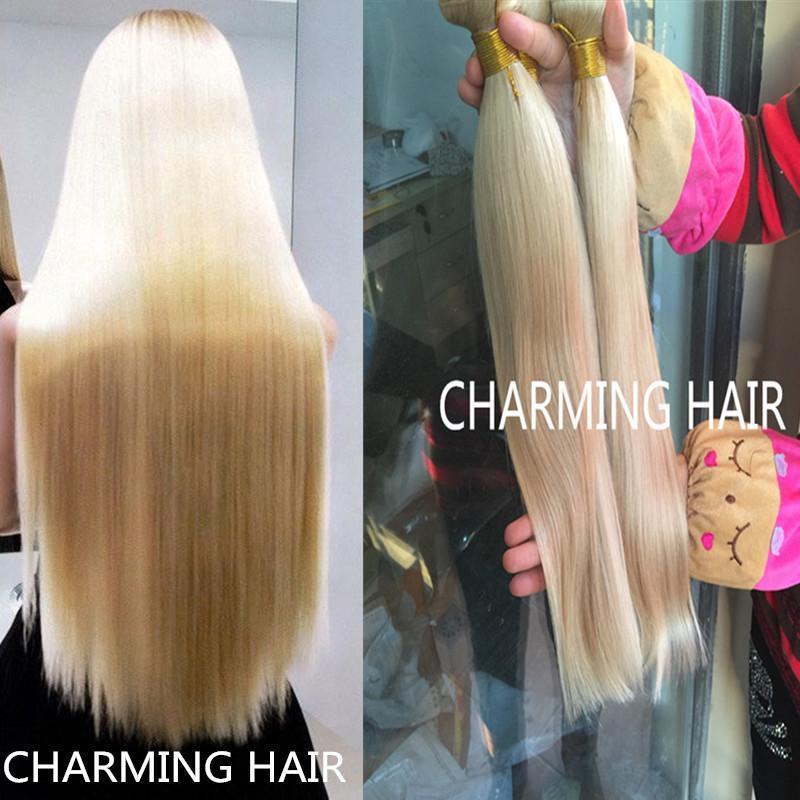 8A Platinum blond les cheveux raides, 613 cheveux vierges brésiliens 3 faisceaux, 8-30inch longueur mixte, fils de trame de tissage de cheveux humains non transformés