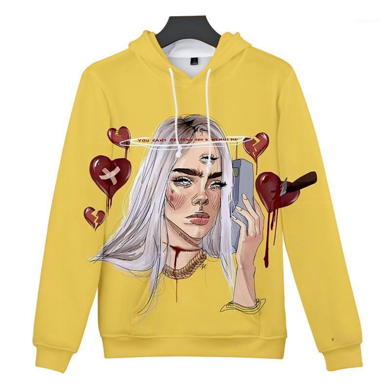 Diseñador suelta pulóver sudadera de las mujeres ocasionales más el tamaño de las tapas Billie Eilish 3D Impreso Hoodies de las mujeres