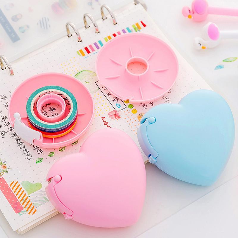 1pc di colore della caramella Cuore Donut Shape Plastic Adhesive Tape Dispenser Ufficio Scolastico Desktop Holder Nastro con Cutter