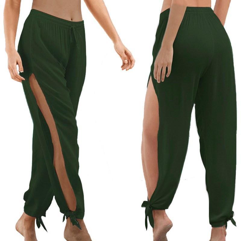 Más el tamaño de las mujeres del verano ahueca hacia fuera la playa causal pantalones anchos de la pierna de los pantalones de la danza ancha elástico de la cintura alta de Split Lado Abierto Pantalones LY191213