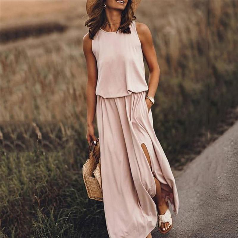 Más el tamaño M-5XL verano de las mujeres del diseñador de los vestidos ocasionales sólido de color impresa Dividir sin mangas Vestidos Vestimenta Mujer