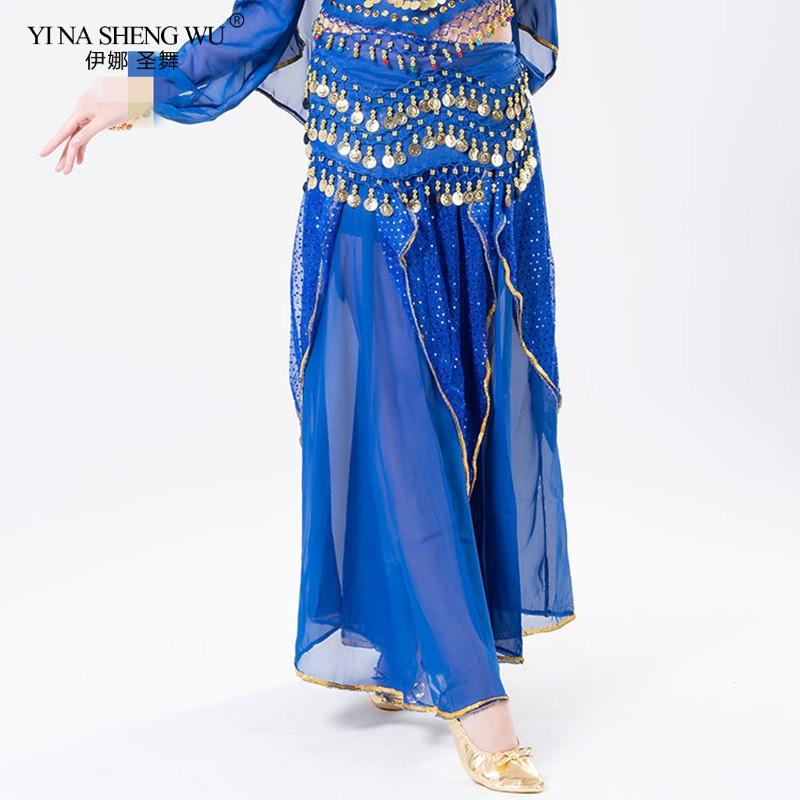 New cheap Women Belly Dance Costume Skirt Woman Belly Dance Cloth Training Skirt Adult Trousers Tribal Sequins
