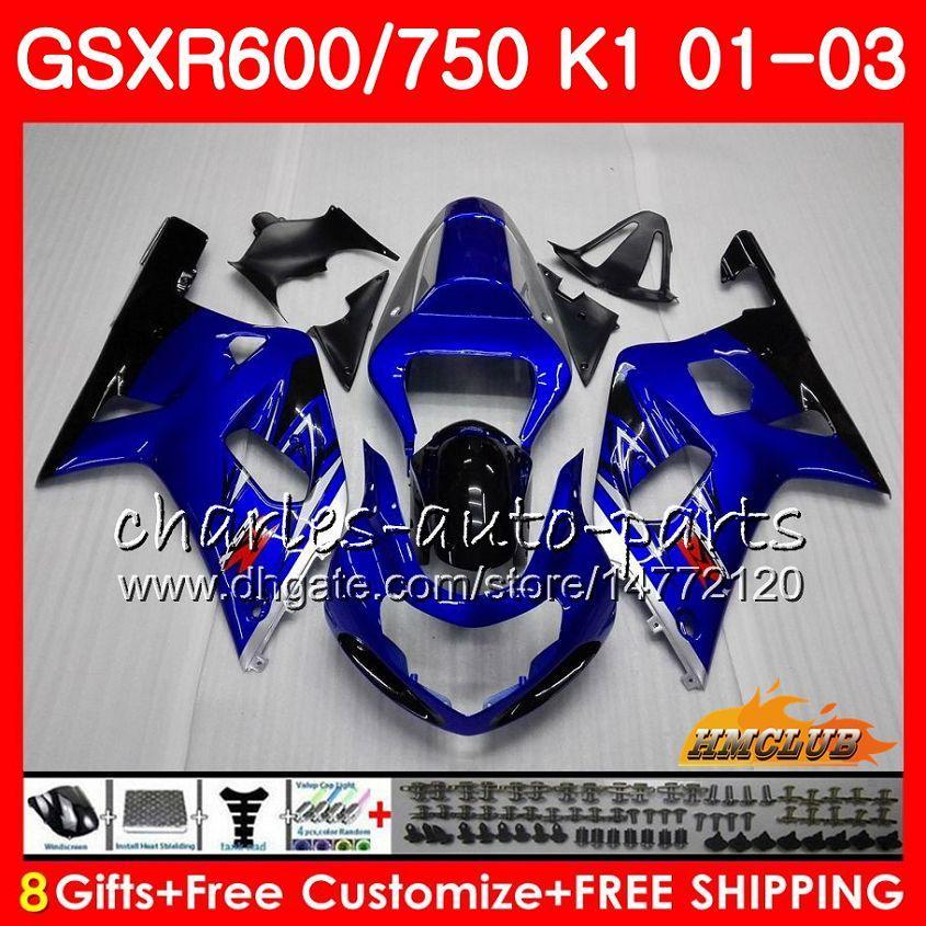 Corps 8Cadres Pour SUZUKI GSX-R750 GSXR 600 750 GSXR600 01 02 03 4HC.48 GSXR-600 K1 GSX R750 bleu brillant GSXR750 2001 2002 2003 Kit de carénage